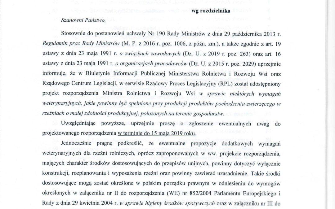 Konsultacje w sprawie rozporządzenia MRiRW w sprawie uboju w gospodarstwie
