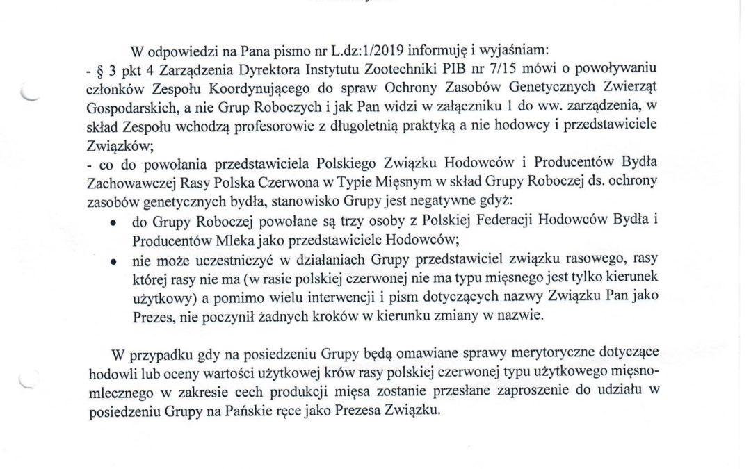 Odpowiedź Instytutu Zootechniki PIB w sprawie Grupy Roboczej ds. ochrony zasobów genetycznych