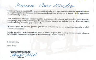 Wyrazy poparcia dla Ministra Jana Krzysztofa Ardanowskiego